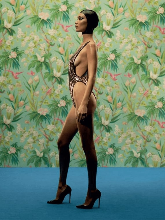 LOVE – 20.5 Bella Hadid wearing GINA Lucrezia pumps
