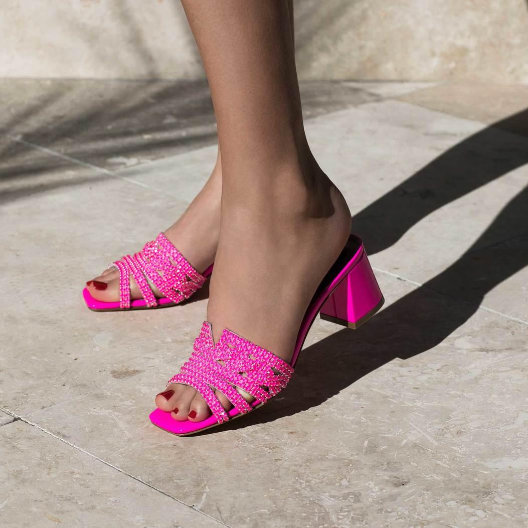 UTAH in Fuschia Fluopatent GINA Sandals #2