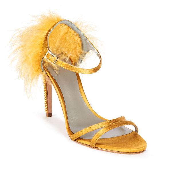 IVANA in Ochre Satin GINA Sandals #2
