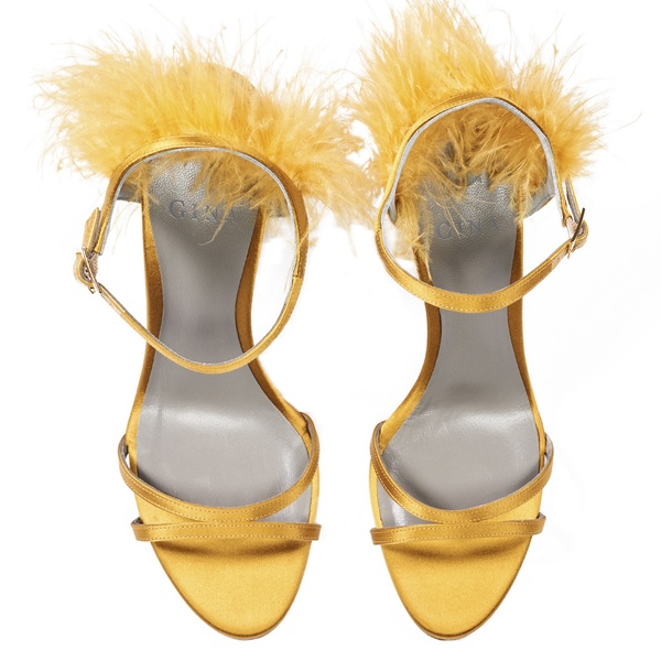 IVANA in Ochre Satin GINA Sandals #3