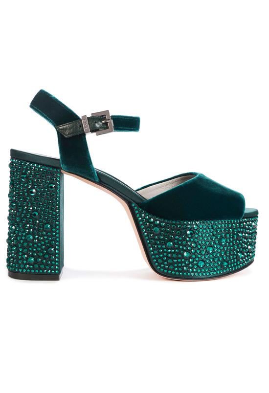 ZYLA In Emerald Velvet Platform